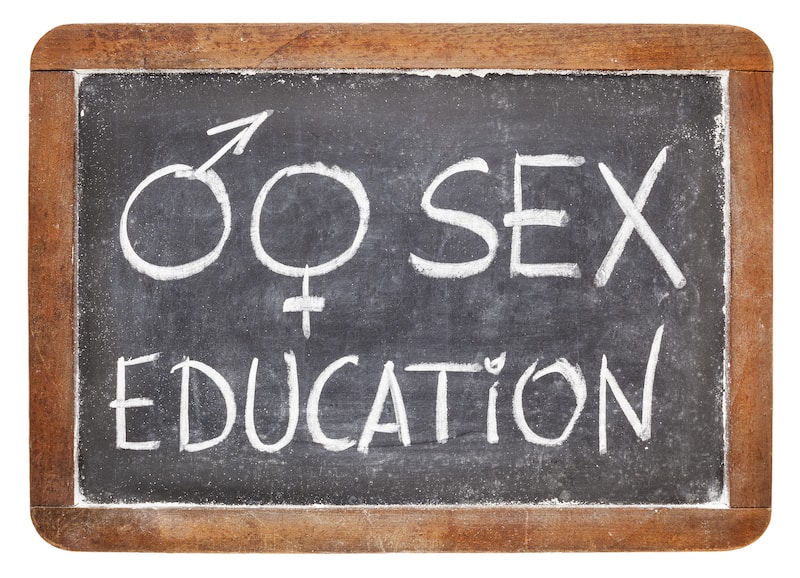 "chalk board with words ""sex education"""